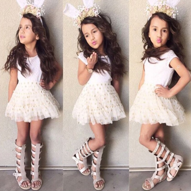 Baby Kid Girls One Piece font b Dresses b font Dots Gauze Sleeveless Party Tutu font