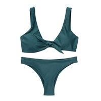2018 Newest Knotted Bikinis Women Swimsuit New Pure Color Bikini Set Padding Vest Scoop Neck Bikini