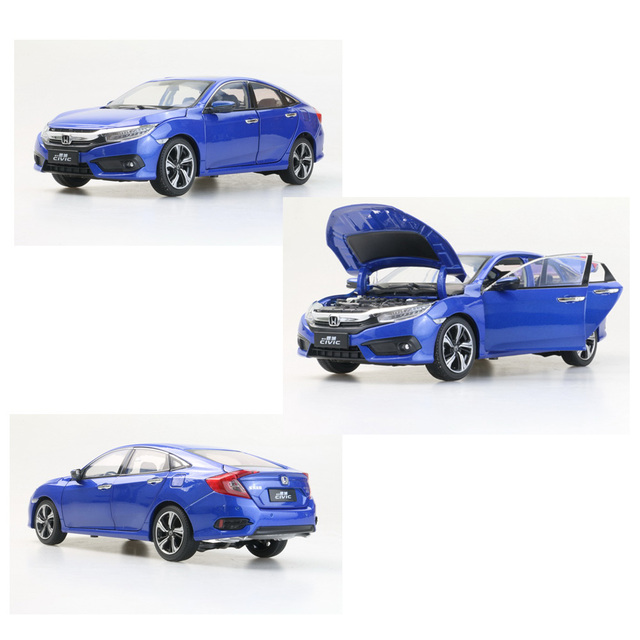 Scale 1:18 Diecast Model for Honda Civic 2016 MK10 Blue Sedan Alloy Toy Car Miniature Collection for boy Gifts