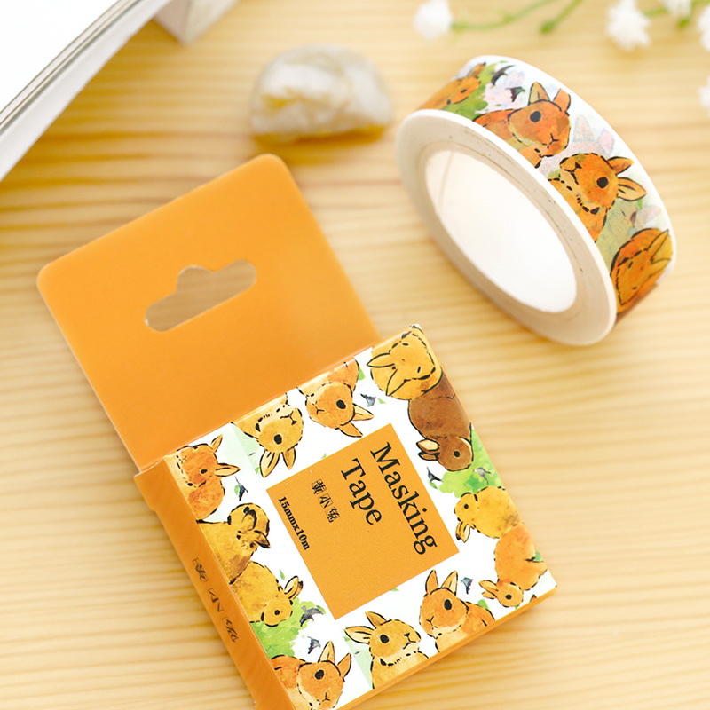DIY Cartoon animals rabbit paper washi tapes/decorative Adhesive Tape/masking tape/ Stickers/School Supplies  Size 15mm*10m 1pcs 15mm 10m kawaii scrapbooking tools diy solid color white black paper washi tapes masking tape photographic tape 02492