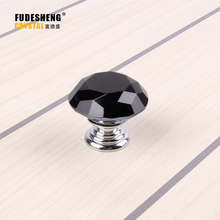 10PCS / Pack Furniture Drawer Handles Cabinet Door Decoration Accessories Black Diamond Crystal small Knob handle Freeshipping