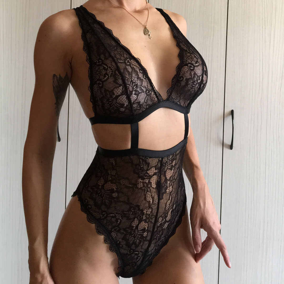 2018 New Sheer Women Black White Sexy Bodysuit Cross Back Soft Lace Solid  Bodycon Hight Cut 9b91be963