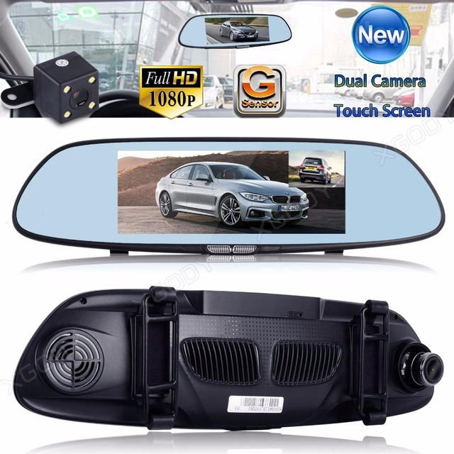xgody 7 Inch Dual Lens Front Back View Dash Camera Video Recorder Mirror Night Vision
