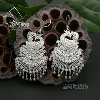 Hot sale new StyleHot >Miao Alai silver jewelry S999 sterling silver original ethnic style peacock earring ear drop Miao manual
