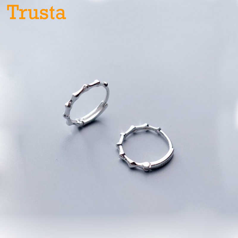 Trustdavis Pure 925 Sterling Silver Hoop Earring Bamboo Ear Cuff Clip On S925 Earrings Gift For Women Girl Teen Jewelry DA239