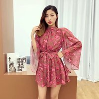 Boho Red Floral Print Mandarin Sleeve Women Elegant Summer Sexy Backless Jumpsuits Rompers Sexy Beach Girls