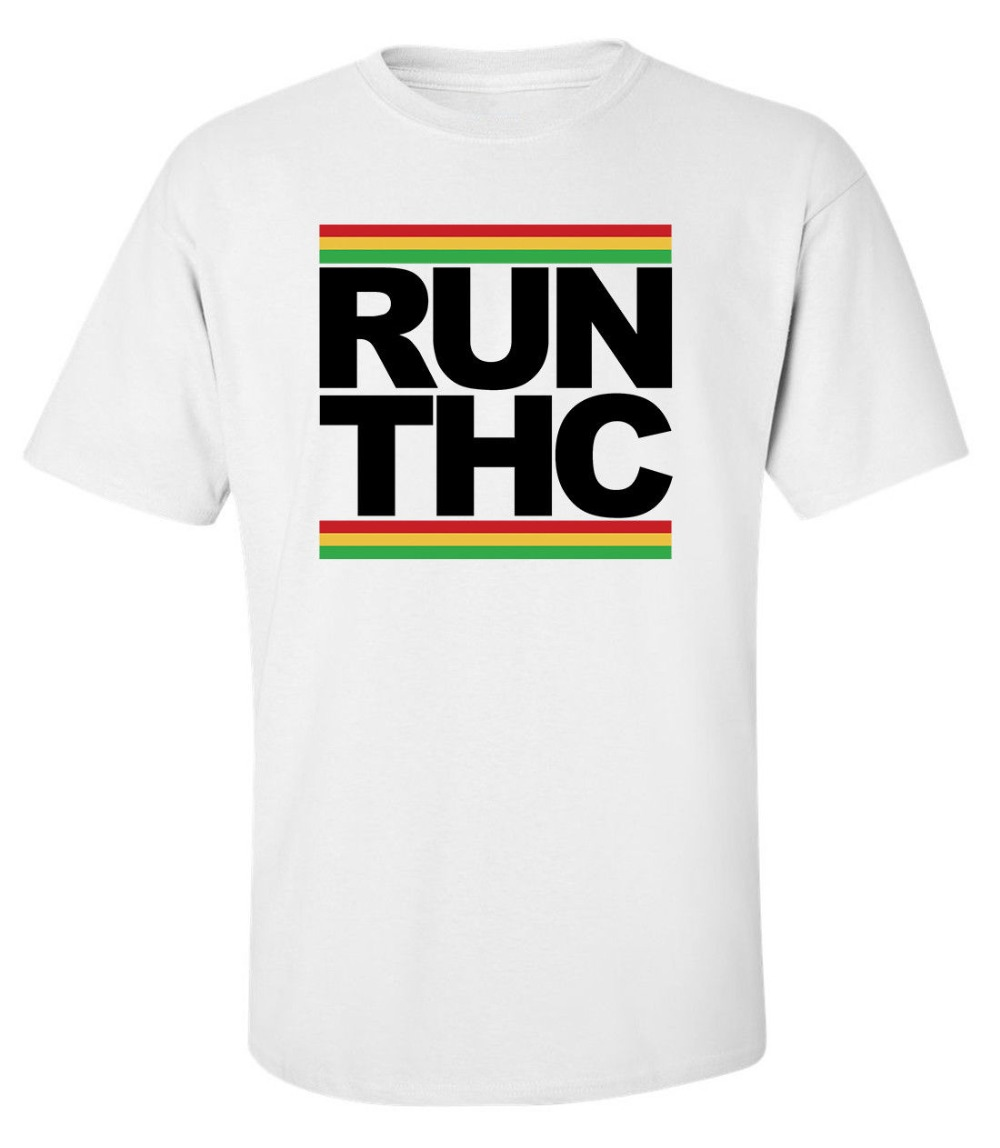 2019 New Arrival Men'S Fashion Run THC Rasta Hippie Weed Men's Printed White Cotton T-shirt Top Tee cool shirts
