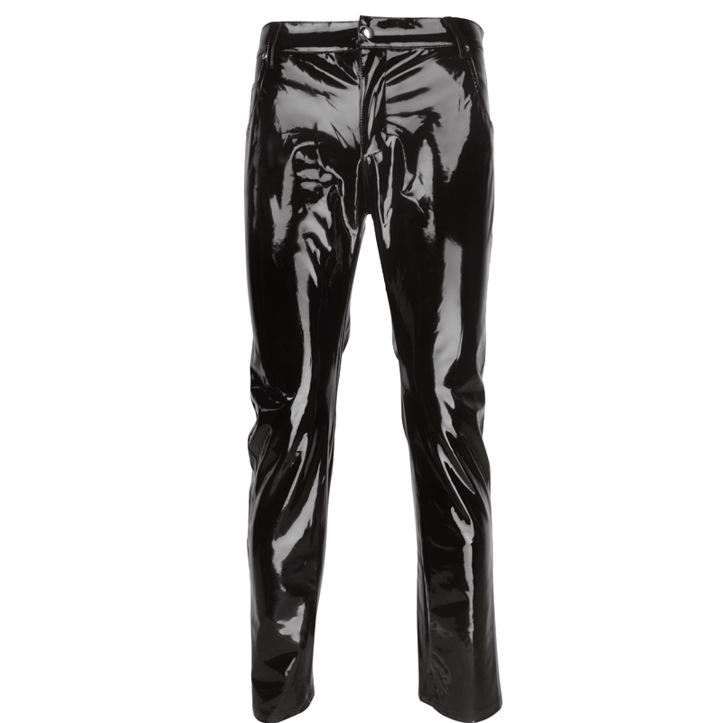 Fashion Sexy Mens Lingerie Shiny Patent PVC Leather Tight Pants Leggings For Clubwear Clothes 2020 New image