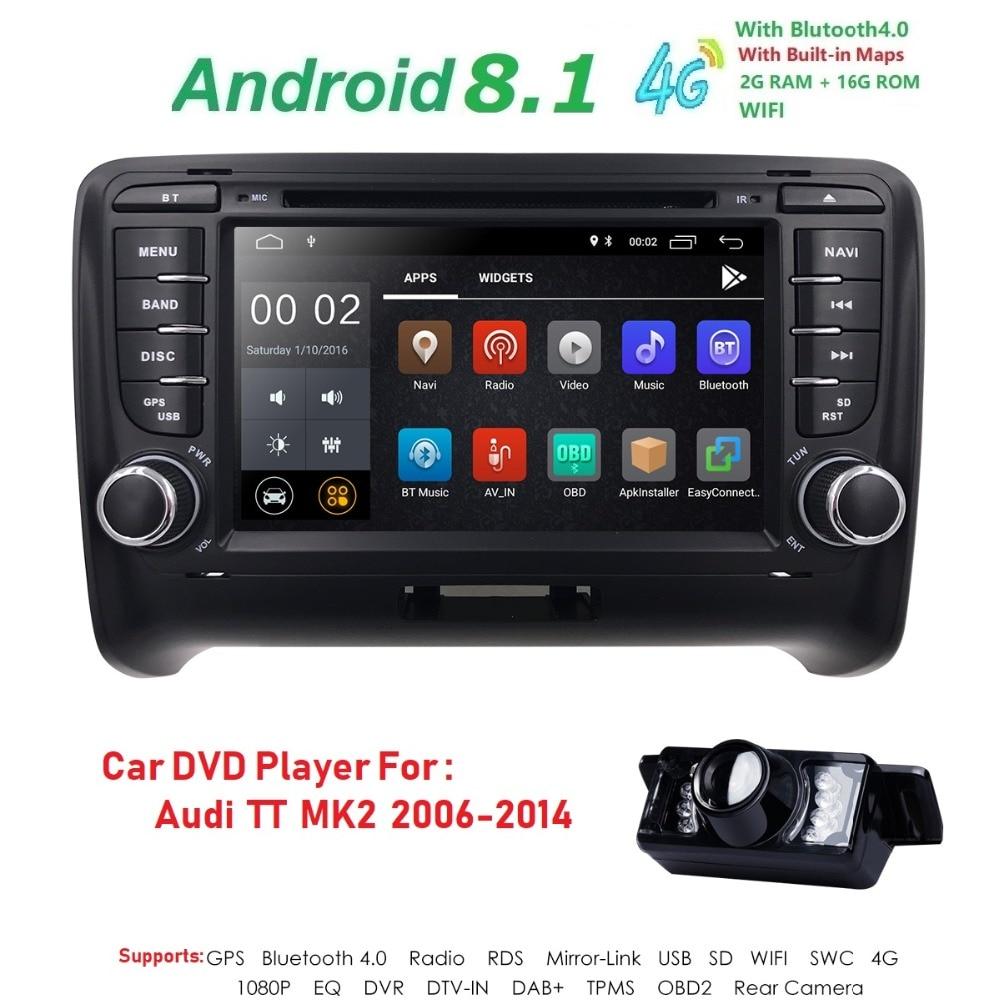 Android 8.1 4-Core Radio Stereo Car DVD Player GPS de Navegação Para AUDI TT MK2 OBD2 DAB Rádio Bluetooth + Free Rear Camera + Mapa