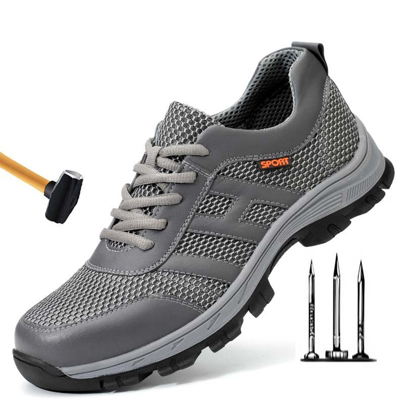 Shoes Breathable Safety Shoes Men Summer Lightweight Work Shoes Steel Toe Soft Bottom Puncture-proof Safety Work Boots For Men