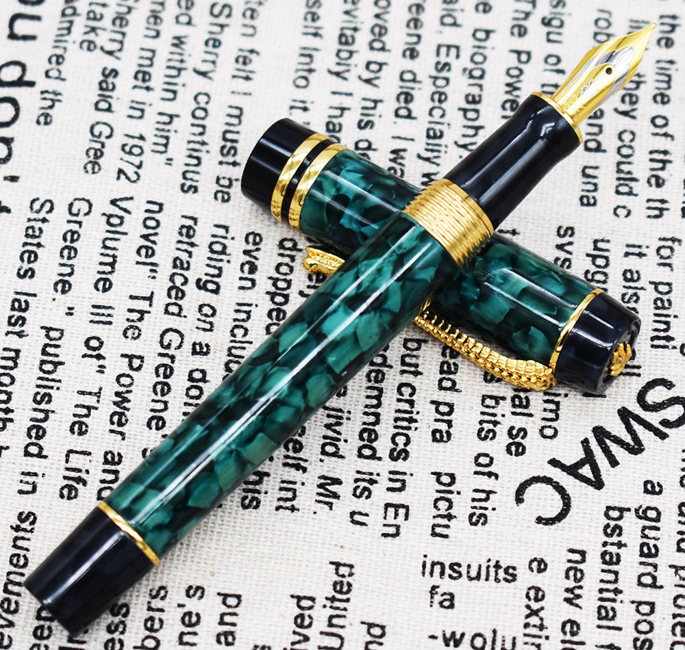 Marble Celluloid Fountain Pen 22KGP Medium Nib Writing Gift Pen Green Flowers Pattern and Crocodile Clip Office Supplies in Fountain Pens from Office School Supplies