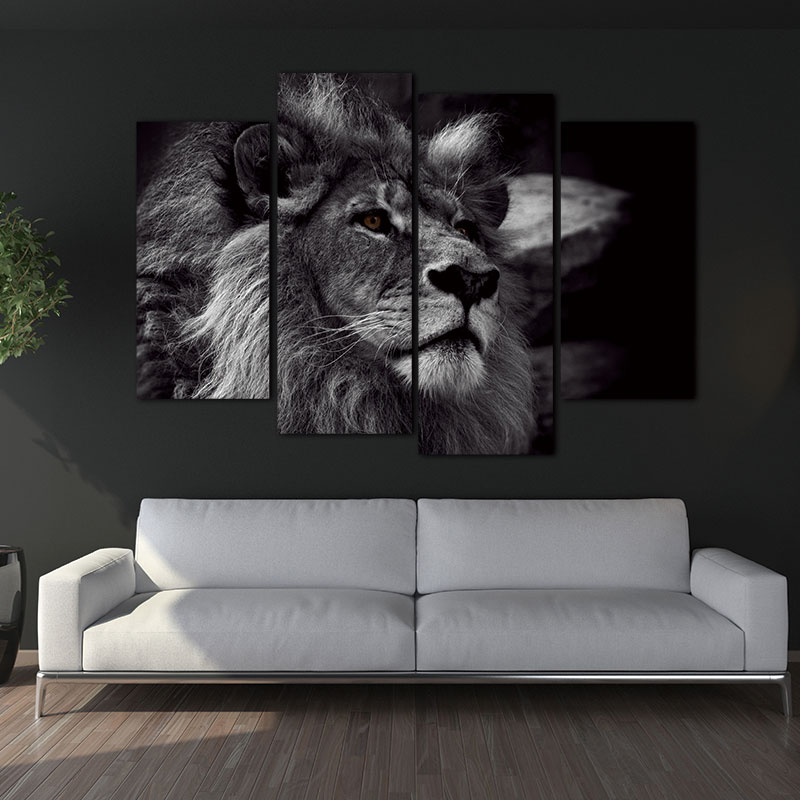 Lion Head Portrait Wall Art Painting Black White Gray