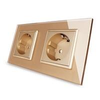 Livolo EU Standard Wall Power Socket Golden Crystal Glass Panel Manufacturer Of 16A Wall Outlet VL