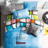 100% cotton fashion design brief style western sketch 3/4 piece bedding sets duvet cover fitted bedsheet pillowcases home fabric