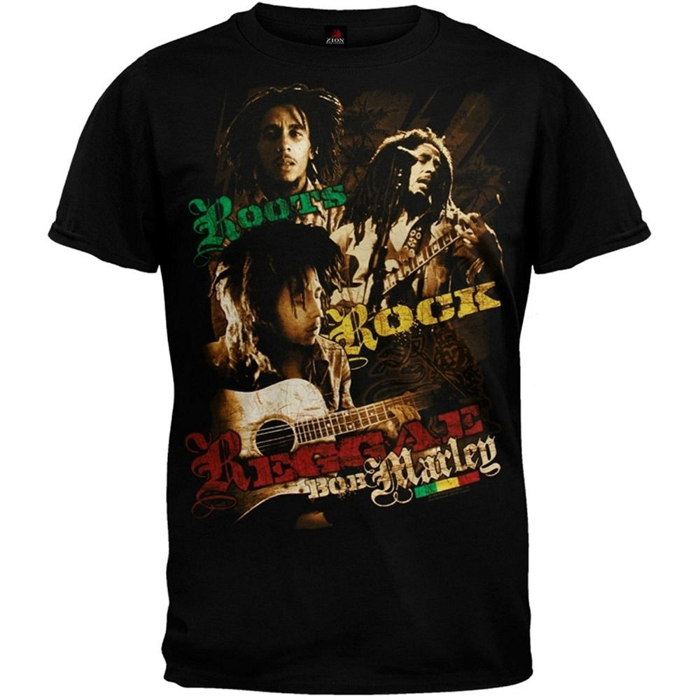 2018 New Summer Men Hot Sale Fashion Bob Marley Roots Rock Photos T-ShirtCotton Low Price Top Tee For Teen Girls
