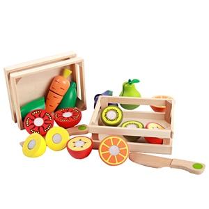 Image 2 - 아기 장난감 교육 절단 과일/야채 세트 나무 놀이 음식 주방 완구 어린이 놀이 집 생일 선물