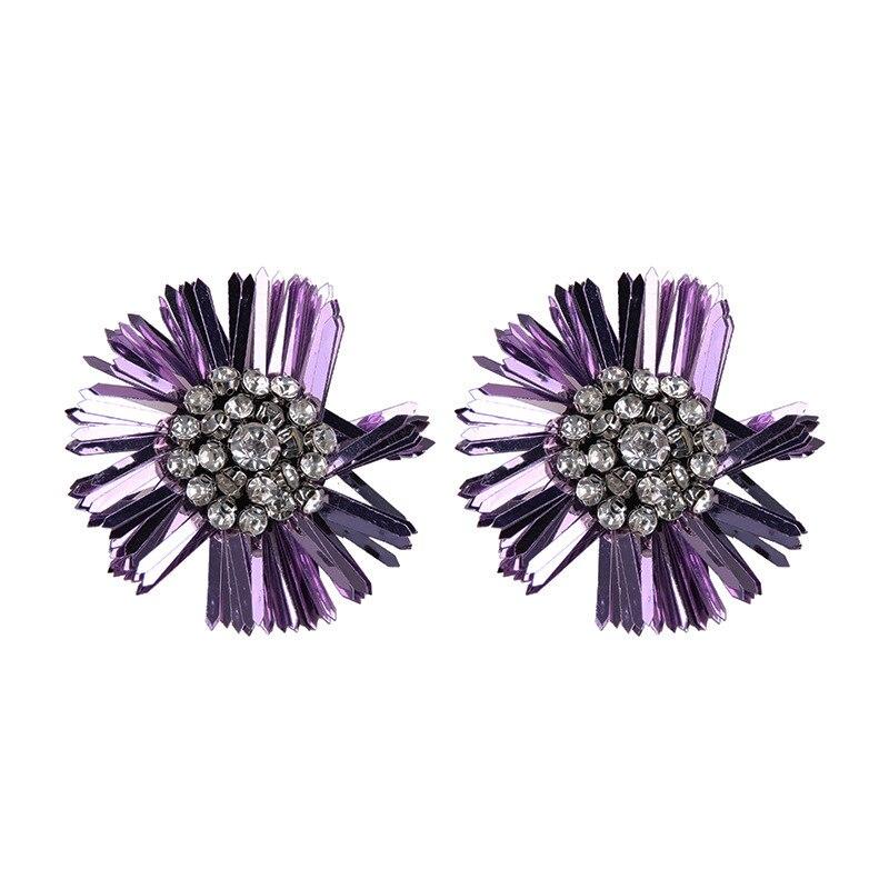 BK Fashion Sequin Earrings for Girls Vintage Stud Earrings for Women Trendy Party Big Flower Shape Earrings Black Yellow in Stud Earrings from Jewelry Accessories