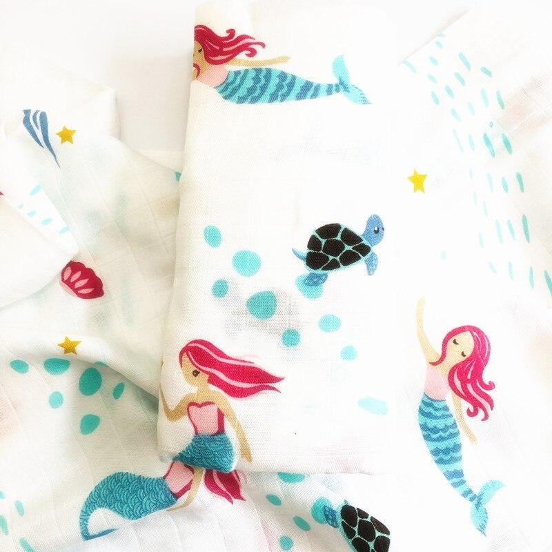 70% бамбуковое детское муслиновое одеяло для пеленания, качество лучше, чем Aden Anais, детское Многофункциональное большое одеяло для пеленок, детское одеяло - Цвет: mermaid