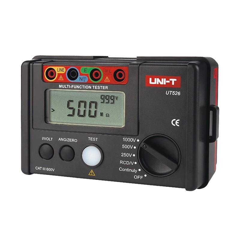 UNI-T UT526 compteur électrique numérique multifonction testeur d'isolation électrique mètre de résistance à la terre + Test RCD + continuité + AC/DCV