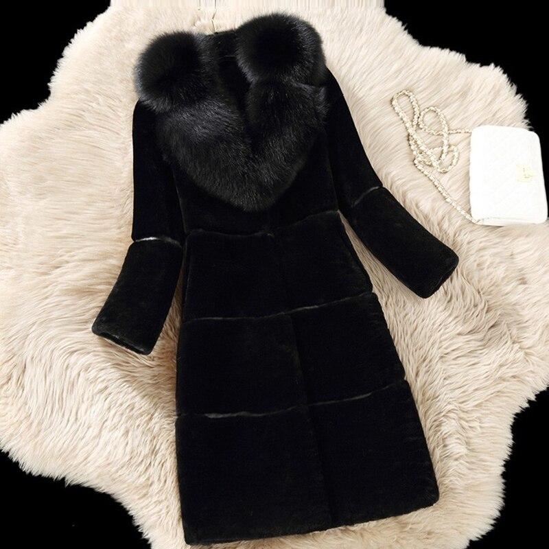 Parkas Mujer 2018 Winter Women Fur Coat Ladies Long Sleeve Warm Jackets Fashion Faux Mink Fur Coat Female Fox Fur Collar Parka цена
