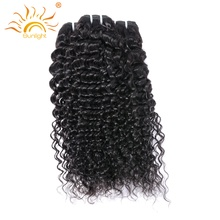Brazilian Curly Weave Human Hair Bundles Sunlight Human Hair Extensions 1 Piece Non-remy Hair Weft Natural Color Thick And Full