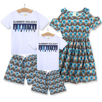 Datousha 2018 new arrival family matching clothes mother daughter dresses casual father son matching outfits cotton short set