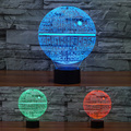 Guerra de Estrellas de La Lámpara 3D Visual Led USB Luz de La Noche Estrella de La Muerte luces para Niños lámpara de Mesa Táctil Lampara ya que Además de Lampe de Dormir Del Bebé Lihgt