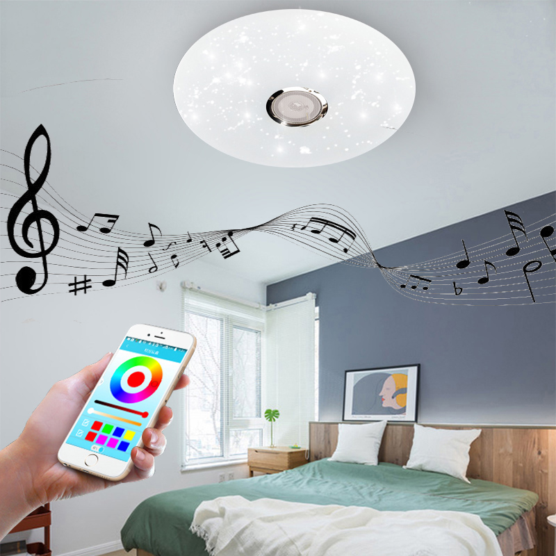 LED Ceiling Lights RGB Dimmable 36W APP Remote Control Bluetooth Music Light Bedroom Lamps Smart Ceiling Lamp AC86V-265V