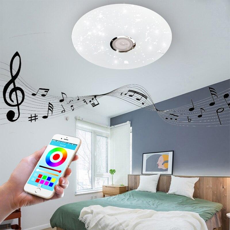 Светодиодный потолочный светильник s RGB с регулируемой яркостью, 36 Вт, приложение, дистанционное управление, Bluetooth, музыкальный светильник, лампа для спальни, умный потолочный светильник, AC86V 265V