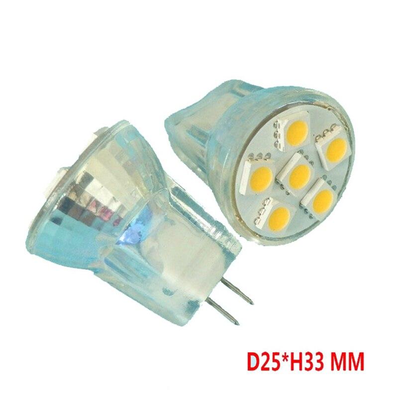10PCS Glass Housing 6LED GU4 MR8 LED Spotlight DC AC12V 8 30V Cup shape Plastic Light