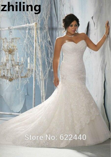 Einzigartige Designer Spitze Meerjungfrau Plus Size Brautkleider ...