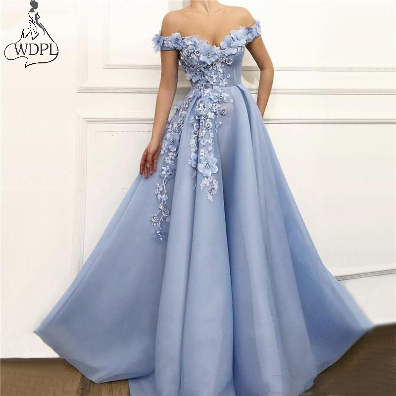Light Sky Blue Off Shoulder   Prom     Dresses   Handmade Flowers Pearls Sleeveless Party Evening   Dress   2019 Robe de soiree Abendkleider