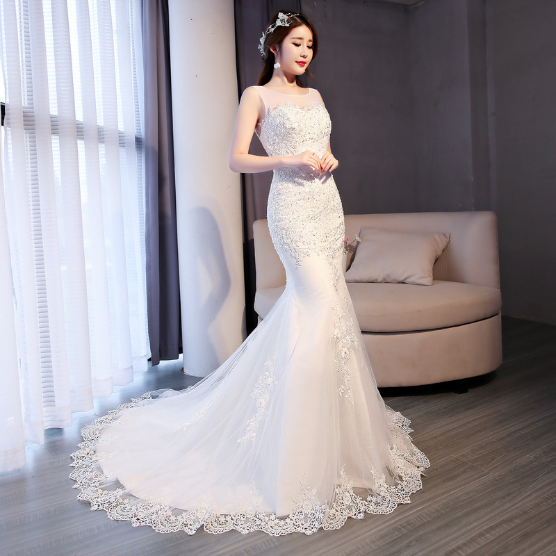 Luxury Sexy Backless Mermaid Train Lace Appliques Wedding Dress 2018 New Fashion Korean Style A-line bride Vestido De Noiva