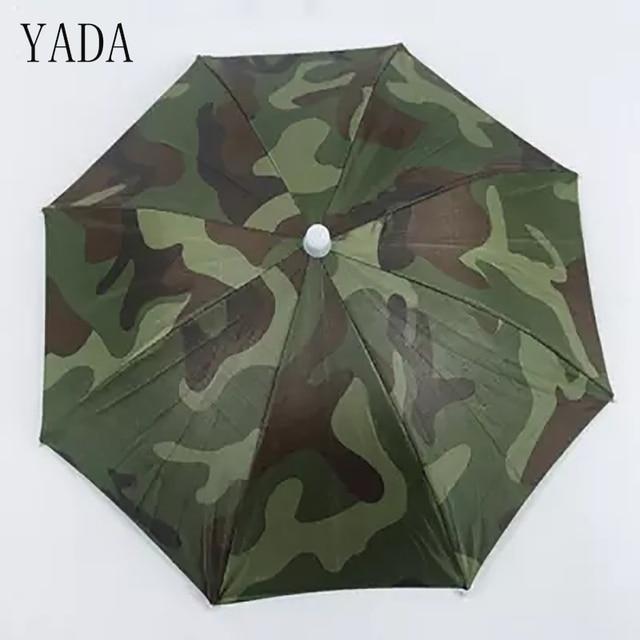 YADA 50 и 65 см цифровой камуфляж рыболовная Кепка зонтик дождь Для женщин УФ-зонтик для Для женщин s открытый раза головные зонтики YS0017