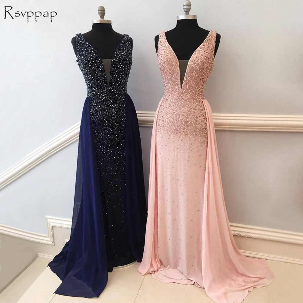 Long Evening Dress 2018 New Arrival Women Formal Gowns Mermaid V-neck  Beaded Crystals Floor 959e623d7179