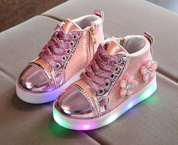 2019 ışıklı çocuk ayakkabı aydınlık sneakers kız led işıklı ayakkabı bebek aydınlık spor ayakkabı Çiçek Şarjlı pu led ayakkabı