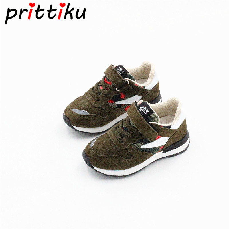Toddler Boy Girl Classic Solid Sneakers Little Kid Genuine Leather Trainer Big Children Spring Autumn School Sport Walking Shoes