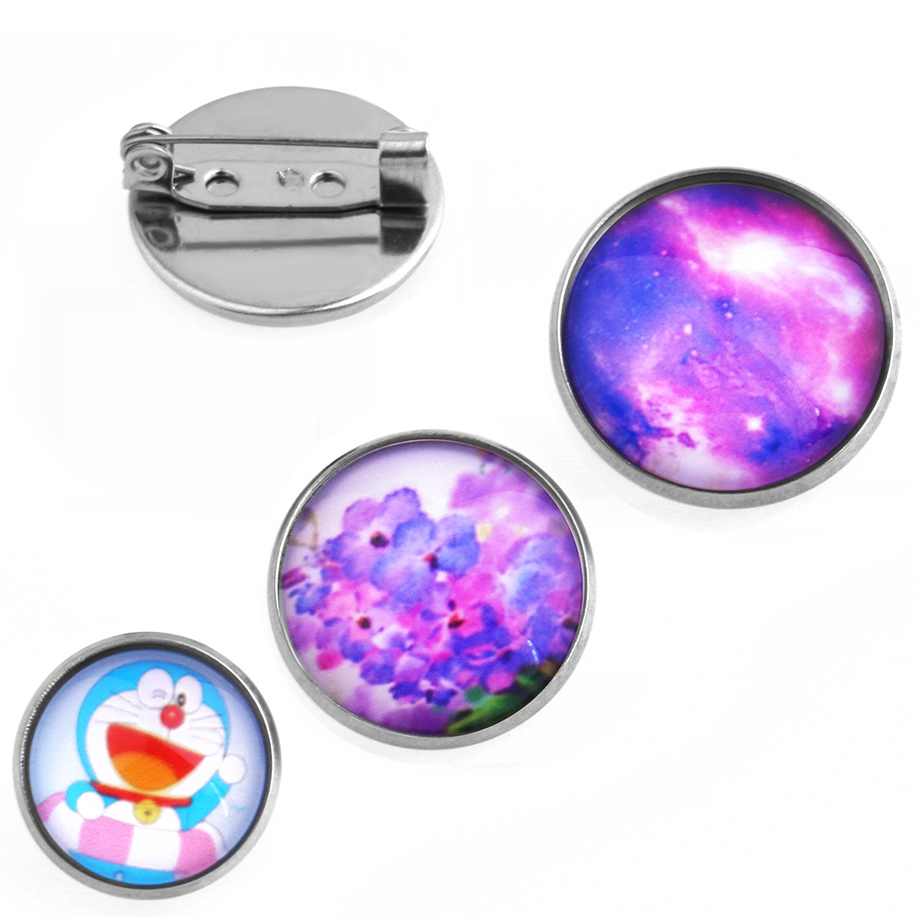 20pcs (Never fade) 14/18/20mm Stainless Steel safety Brooch Pin Blanks Bezels Stone Cabochon Cameo Setting Blank base Buttons,