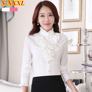 Image 4 - Высококачественная шифоновая блузка с длинным рукавом, элегантная женская рубашка с оборками, облегающая офисная блузка, Женская рабочая одежда, женские топы