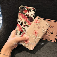 For Iphone 7 CASE Cover New Fashion Transparent Flowers Soft Silicagel TPU CASE For Iphone 6 6plus 6S 6Splus 7 7plus CASE Cover