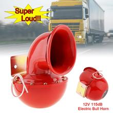 Car Auto Air horns 8A 12V 115dB 175Hz Red Metal Electric Bull Horn Super Loud Raging Sound for Motorcycle Truck Boat