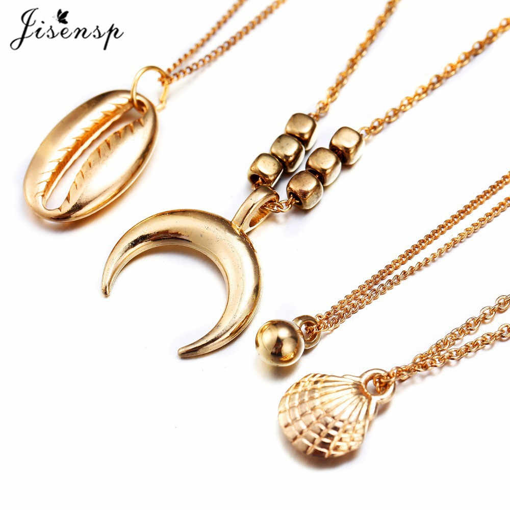 Jisensp Unique Design Bead Shell Charm Necklace for Women Bohemian Beach Bead Seashell Moon Chokers Necklace Fashion Jewelry