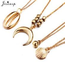 цена на Jisensp Unique Design Bead Shell Charm Necklace for Women Bohemian Beach Bead Seashell Moon Chokers Necklace Fashion Jewelry