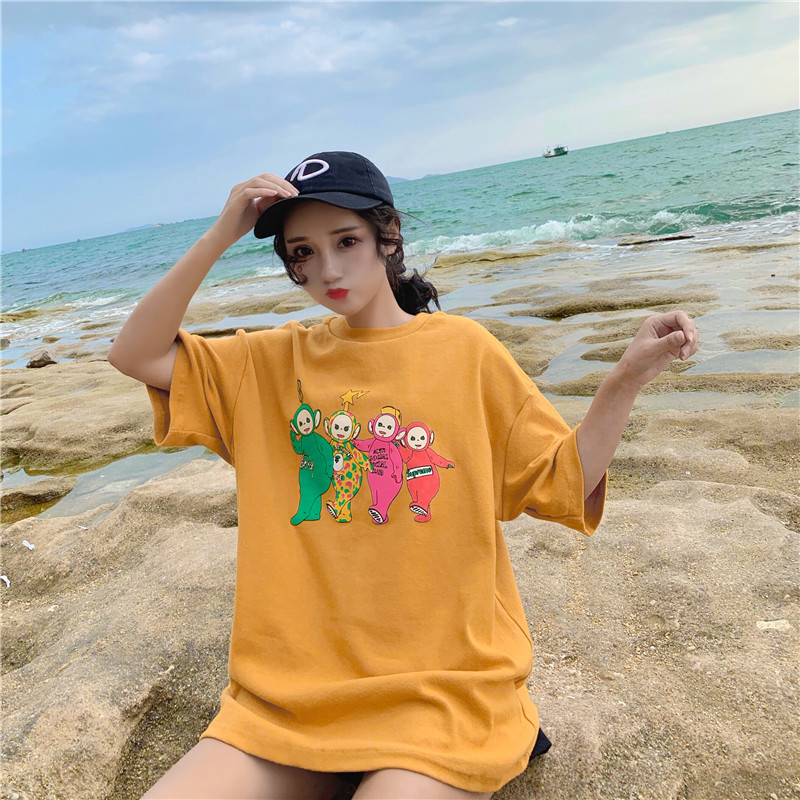 90's Women   T     shirt   Kawaii Casual Tops Summer Cotton Short Sleeve Streetwear Harajuku Vintage Aesthetics Tee   Shirt   Femme Printed