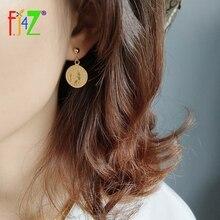 F.J4Z 100% S925 Sterling Silver vintage Coin drop Earrings Gold Portrait round queen Pendant dangle earrings For Women