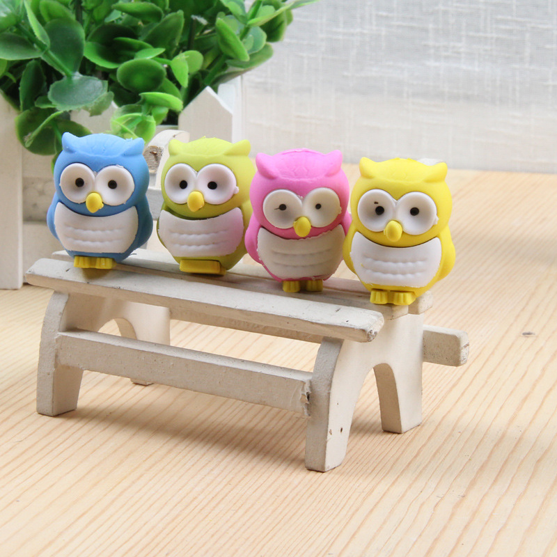Cute Owl Rubber Erasers For Kids Kawaii 3D Candy Color Drawing Eraser Stationery Gift Toy Office School Supply Escolar Borracha