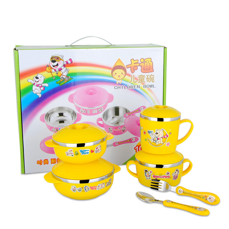 Cute Stainless Steel  Children Tableware Set Baby Bowl Food Container  Eating Set Lovely Learning Dishes  Spoon Fork Bowl Set (5)