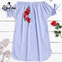 AZULINA Floral Embroidery Loose Mini Dress Women Sexy Off Shoulder Button Up Front Blue Striped Dress