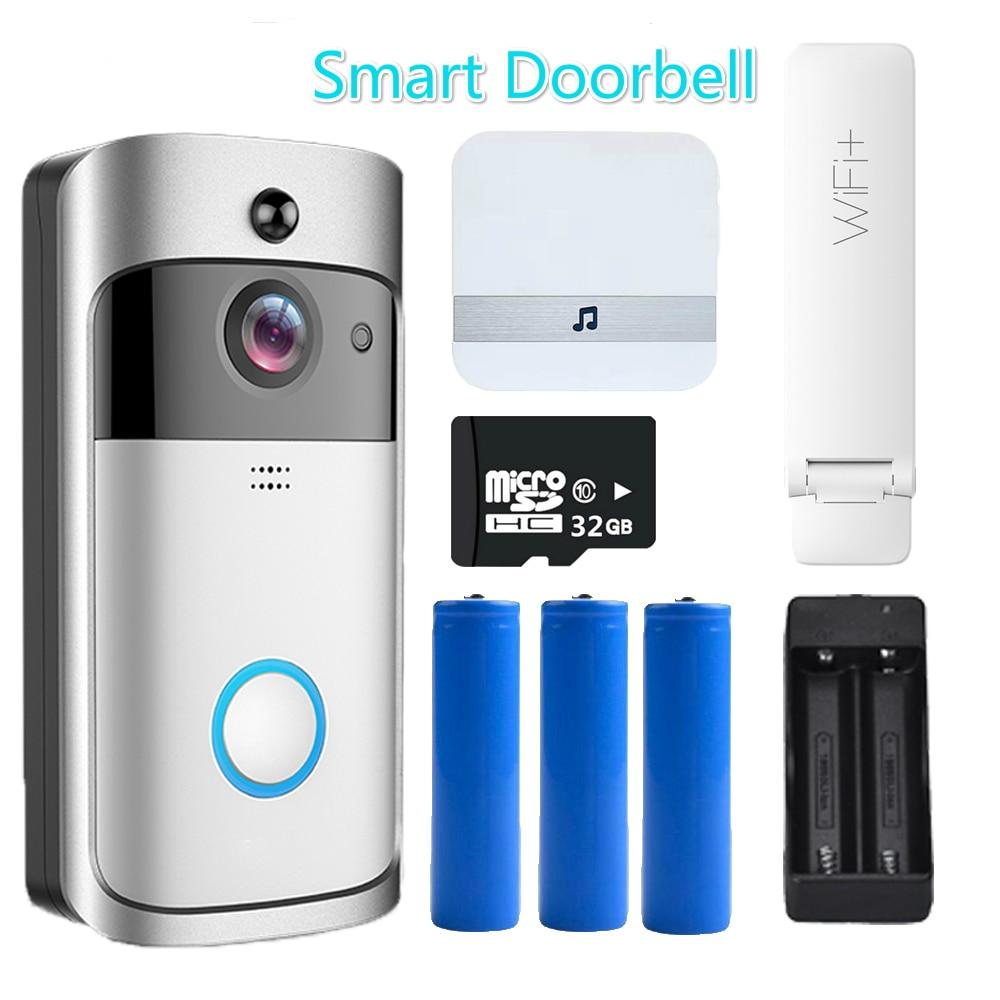Original Smart Wireless WiFi Security Door Bell Eye Visual Recording Night Vision Video Intercom Phone Call Doorbell