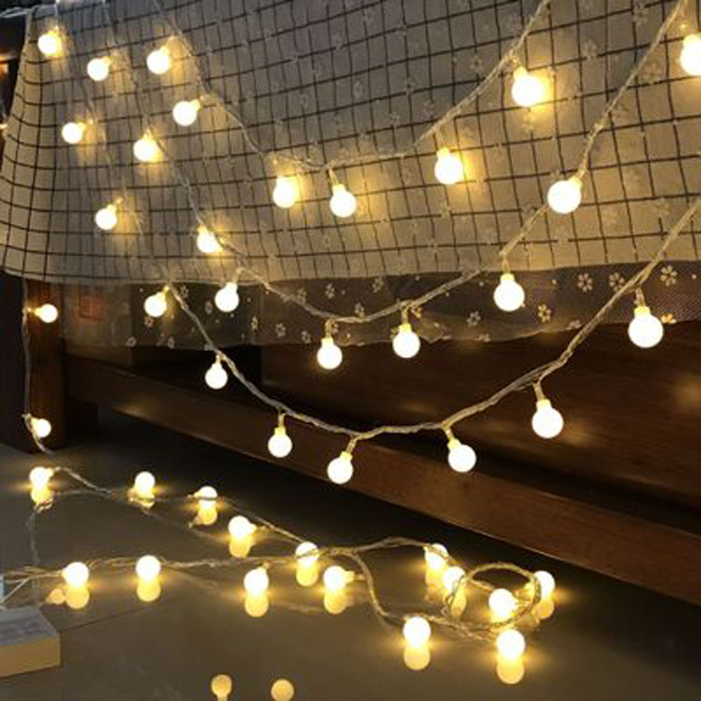 20 LED String Fairy Lights Plastic Globe Festoon Led Lights Decoration Wedding Christmas Party Garlands Battery Nightlight 2.5M